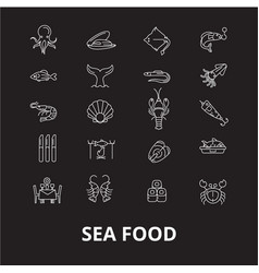 Sea food restaurant editable line icons set vector