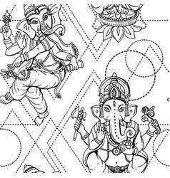 Seamless pattern ganesha vector
