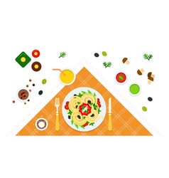 Served table and dish spaghetti icon vector