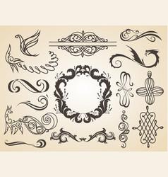 set calligraphic design elements page vector image