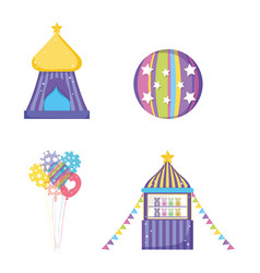 Set circus big top with ball and toys store vector