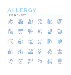 Set color line icons allergy vector