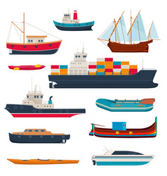 Set different ships and boats vector