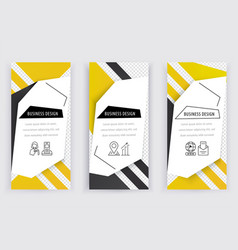 set of business white banners with yellow black vector image