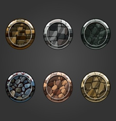 Set of round concave stone buttons vector