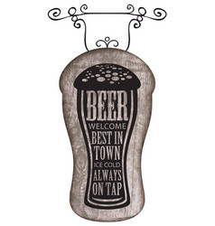 Signboard with beer glass with words on beer theme vector