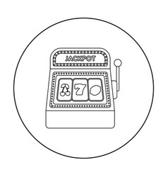 Slot machine icon in outline style isolated on vector