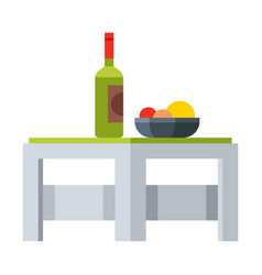 Small table with bottle wine and dish fresh vector