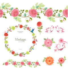spring floral collection with chrysanthemum vector image