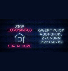 Stop coronavirus neon sign with stay at home icon vector