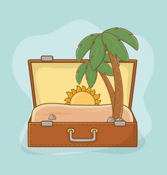 suitcase bag with beach scene vector image