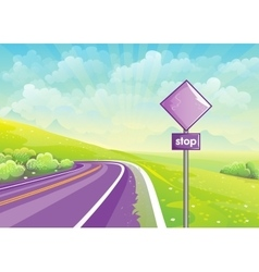 Summer road among fields and sign vector