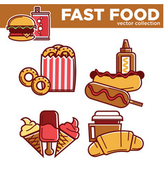 tasty fast food collection with fat dishes vector image
