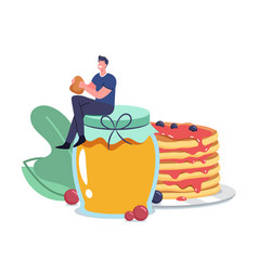 Tiny male character sitting on huge glass jar with vector