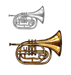 Trumpet or horn jazz music instrument sketch vector