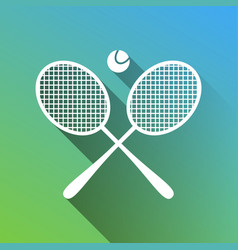 Two tennis racket with ball sign white icon with vector