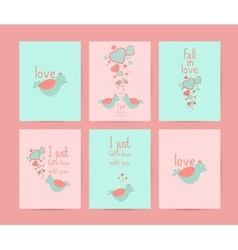 Valentines day gift cards Handdrawn design vector image
