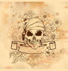 Vintge style grungy skull print retro background vector