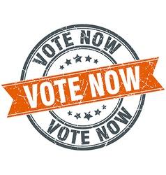 Vote now round orange grungy vintage isolated vector