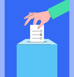 Voting concept with hand putting ballot into box vector