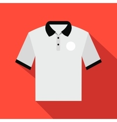 White men polo shirt flat icon vector image