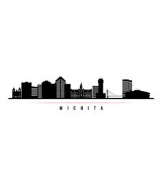 wichita skyline horizontal banner black and white vector image