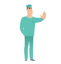 caucasian doctor showing stop hand gesture vector image
