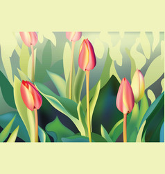 red tulip flowers spring season background vector image vector image