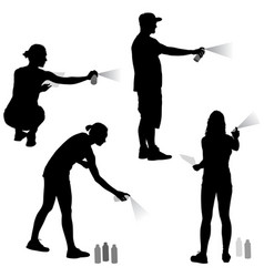 set silhouette man and woman holding a spray on a vector image