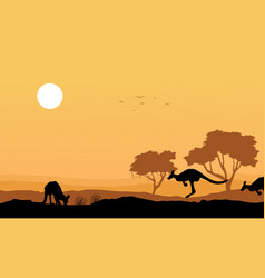 Silhouette kangaroo in the hill landscape vector