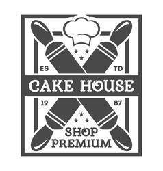 bakery shop vintage isolated label vector image