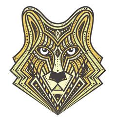 Golden alfa wolf detailed vector