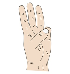 Hand with three fingers up vector image vector image