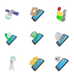 Mobile phone use icons set cartoon style vector image vector image