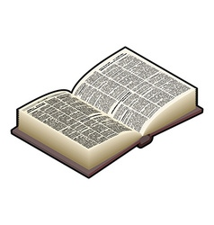 Open Book isometric isolated Ancient text old vector image