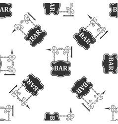 bar signboard seamless pattern on white background vector image vector image