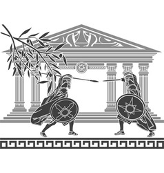 greek warriors and temple vector image