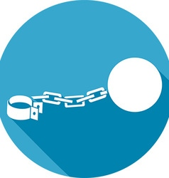 Iron Chain with a Shackle Icon vector image
