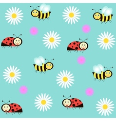 background with ladybirds bees and camomiles vector image vector image