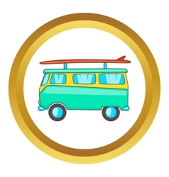 Bus with surfboard icon vector