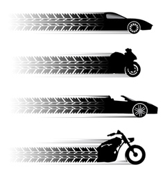 car and motorbike symbols vector image vector image