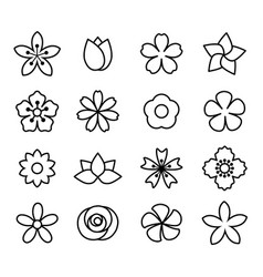 flower icons set1 vector image vector image