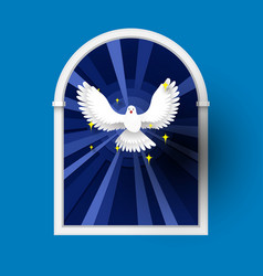 holy spirit come above the window white dove vector image