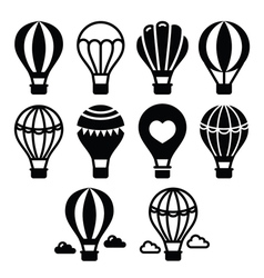 Hot air balloon and clouds icons set vector