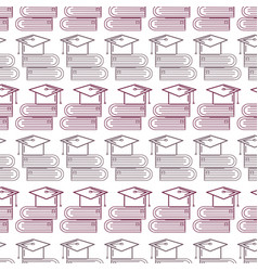 silhouette books tools with graduation cap vector image