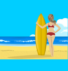 young woman with surfboard looking into distance vector image vector image