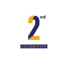 2nd anniversary celebration orange blue template vector image