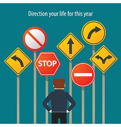 a man standing in front traffic signs vector image