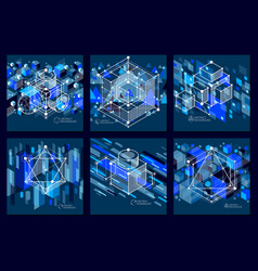 Abstract geometric blue backgrounds set with vector