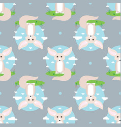 Abstract seamless pattern with fennec fox vector